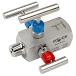 Double Block and Bleed, Hard Seat Needle Valves - 3070 Series - NOSHOK