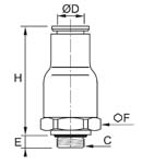 In-Line Non-Return Valve, Supply, Male BSPP and Metric Thread