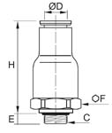 In-Line Non-Return Valve, Exhaust, Male BSPP and Metric Thread