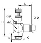 Miniature Flow Regulator Exhaust, Male BSPP and Metric Thread