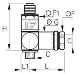 Banjo Pressure Reducer, Male/Female BSPP Thread