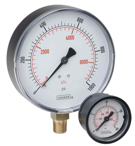 25-100-200-PSI/BAR Standard Gauges - 100 Series - Noshok