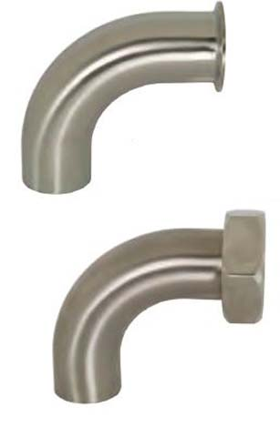 Dixon B2S-G200P Stainless Steel 304 Sanitary Fitting 90 Degree Polished Weld Long Elbow with Tangent 2 Tube OD
