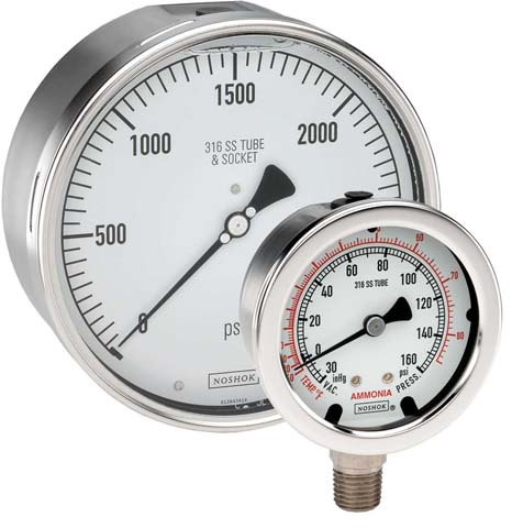 All Stainless Steel Dry & Liquid-Filled Pressure Gauges - 400/500 Series - Noshok