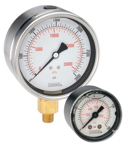 ABS & Stainless Steel Liquid Filled Pressure Gauges - 900 Series - Noshok
